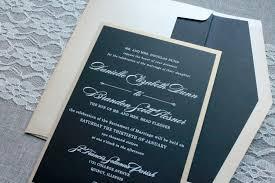 Formal Invite Black And Gold Wedding Invitation Black Pocket Invitation Formal