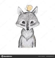 漫画の動物のイラスト彼の頭の上に座って蝶のかわいい小さなオオカミ