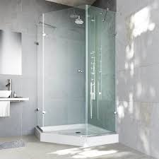 VIGO Waterproof Frameless Neo-Angle 3/8-Inch Clear Shower Enclosure with  White Base - Free Shipping Today - Overstock.com - 12636209