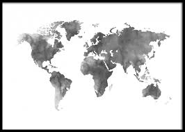 World Map Posters World Map Grey Watercolor Poster