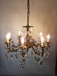 8 arm aged brass crystal chandelier rewired c 1900 5 of 15