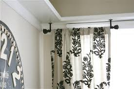 curtains hanging curtain rods from ceiling ideas stunning double rod photosdouble sizes decorative bay window