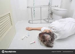 bathroom for elderly. Elderly Woman Falling In Bathroom Because Slippery Surfaces \u2014 Stock Photo For