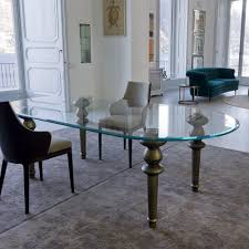 oval glass dining table. high end italian oval glass dining table