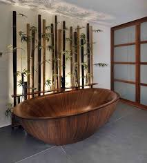 Bathroom with modern interior and wooden bathtub [ Wainscotingamerica.com ]  #Bathrooms #wainscoting