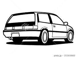 80年代 国産ハッチバック車 ぬり絵風 自動車イラストのイラスト素材