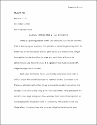 illegal immigration argument essay argument essay student  this preview has intentionally blurred sections sign up to view the full version