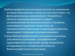 Рекомендации по оформлению списка литературы online presentation Библиографическое описание состоит из элементов которые объединены в области в соответствии с их функциональным назначением Элементы и