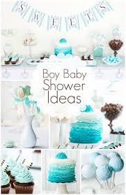 Boy Baby Shower Ideas - I really like the cake and cupcake. The gradient  and color is less of the typical baby blue and more towards the teal color  I was to ...