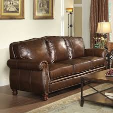 Living Room With Brown Leather Couch Rosalind Wheeler Walborn Leather Sofa Reviews Wayfair