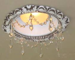 recessed light trimin victorian style in bone finish with clear crystal chain and 1 5 clear u