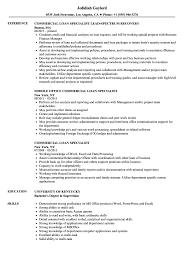 Commercial Loan Specialist Resume Samples | Velvet Jobs