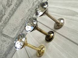 Shabby Chic Wall Coat Rack Rhinestone Glass Wall Hooks Decorative Hooks Clear Crystal Gold 96