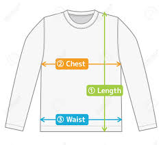 T Shirt Size Chart Long Sleeve T Shirt Illustration For Size Chart English Color