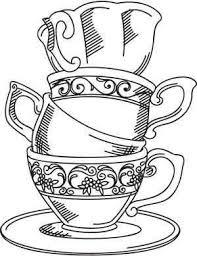 Thee Kopjes Tekening Embroidery Color En Tea Cups