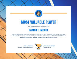 volleyball certificate template blue and orange volleyball sports certificate templates by canva