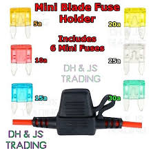 in line mini blade fuse holder with 6 fuses 12v 30a car automotive 3 Amp Blade Fuse at 30a Mini Blade Fuse Box