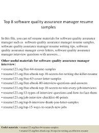 Software Qa Manager Resumes Top 8 Software Quality Assurance Manager Resume Samples