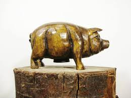 picture of wooden piggy bank