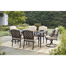 Cozy swing chairs garden ideas Patio Hampton Bay Laurel Oaks Black 7piece Outdoor Dining Set With Beige Cushions The Home Depot Patio Furniture The Home Depot