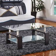 modern rectangle glass coffee table with walnut legs chrome bars lower shelf