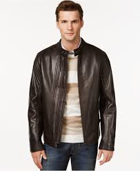 mens andrew marc cafe select leather jacket with rabbit fur lining