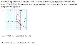 write the equation in standard form for each parab chegg com calculator 9846 4fd6