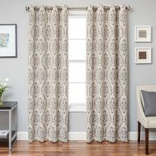 softline damascus damask grommet top curtain panel java brown size 55 x 96