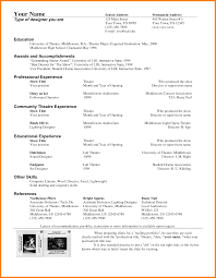 5 Technical Theatre Resume Template Professional Resume List