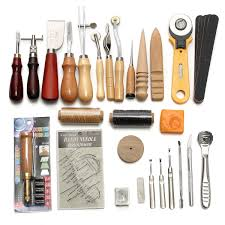 37pcs leather craft tool kit hand sewing stitching punch saddle carving work cod
