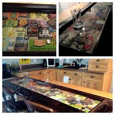 Epoxy Bar Top - We utilized labels, bottle caps, beer coasters, money, and  cigar labels to create this look. It took 5 epoxy pours to complete the bar  top.