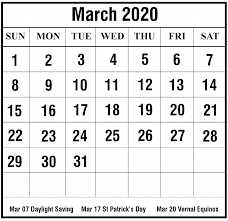 Month Of March Calendar 2020 March 2020 Calendar Printable March Calendar Template