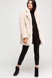 k zell light pink teddy bear faux fur coat limited edition designer stock