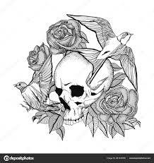 Lebka Tetování Tattoo Lebka Růžemi Ptáci Stock Vektor Miklovash