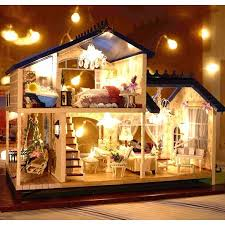 Image Wooden New Dollhouse Miniature Diy Kit Dolls House With Furniture Diy Handcraft Miniature Voiceactivated Led Lightlampmusic With Cover Provence Dollhouse Etsy New Dollhouse Miniature Diy Kit Dolls House With Furniture Diy