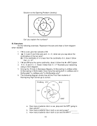 Venn Diagram Problems And Solutions With Formulas K To 12 Grade 7 Learning Module In Mathematics Q1 Q2