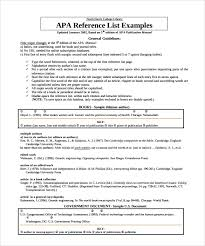 6 Reference List Templates Sample Templates