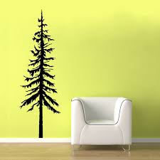 chic white oversize chair on fake wood floors added pine vinyl wall decal on yellow wall painted color schemes on wood pine tree wall art with chic white oversize chair on fake wood floors added pine vinyl wall