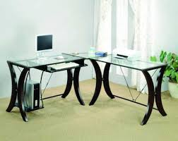 luxury glass l shaped desk cover for glass l shaped desk home regarding glass desk top