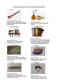 Kostum dan alat musik pengiring juga berlatar seni asli dari minangkabau sendiri. Alat Musik Tradisional 34 Provinsi Indon