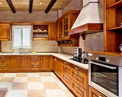 L Shape Kitchen Design With Exposed Beam Ceiling
