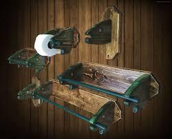 Wooden Bathroom Accessories Set 6 Piece Fish Head Bathroom Accessories Set Display Towel Bars