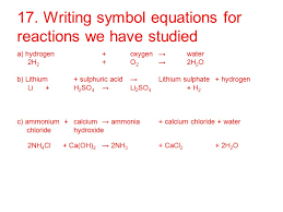 writing symbol equations for reactions we have stud