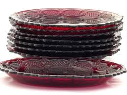 ruby red glass dinnerware vintage cape cod ruby red glass set of 8 salad dessert plates ruby red glass dinnerware
