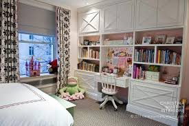 kids room with built in desk