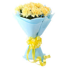 sundripped yellow carnations bouquet send gifts to kolkata