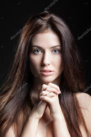 young european beautiful y brunette fashion model without makeup natural look long hair blue eyes