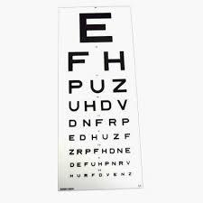 Eye Test Chart Snellen 6 Metre Efh Dvla