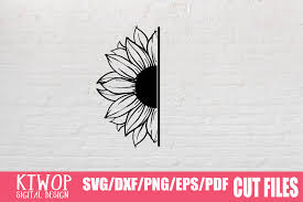 If you wish to use our design, it is only $3 per bundle/design/font for. Svg File Free Half Sunflower Svg Free Svg Cut Files Create Your Diy Projects Using Your Cricut Explore Silhouette And More The Free Cut Files Include Svg Dxf Eps And Png