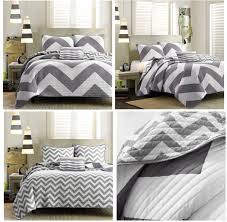 grey white large chevron bedding teen girl twin xl full queen king comforter quilt duvet cover set